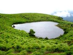 The heart-shaped lake that you see is on #ChembraPeak, which is one of the best attractions in #Wayanad‬.