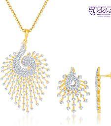 Buy Sukkhi Indian Peacock CZ Gold  and Rodium plated Pendant Set  Pendant online