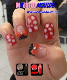 Minnie Mouse Nails by Jennifer Glass from Total Bliss in Glengormley Northern Ireland using our JET BLACK AND RED nail art powders available from www.thenailartist.co.uk