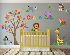 Decoración de vivero la selva, animales de la selva la pared calcomanías, tatuajes de pared de la guardería de Safari, jungla pared arte, arte de pared de Safari