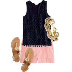 A fashion look from March 2013 featuring J.Crew tops, J.Crew shorts and Tory Burch sandals. Browse and shop related looks.