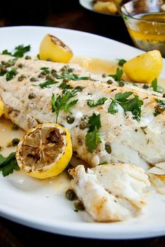 Baked Fish with Lemon Butter & Capers