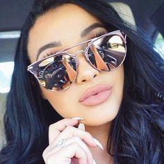 Califit 2017 rose rose ronde de cuivre miroir lunettes de for Miroir semi reflechissant acheter