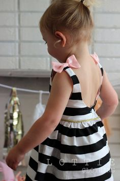 The Audrey Dress Black and white Stripe dress by LottieClothing