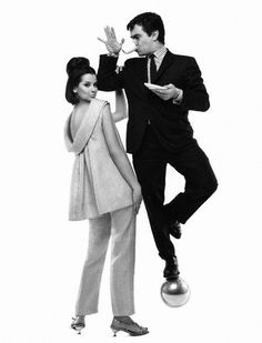 Actor Dudley Moore and Veronica Hamel wearing silk pajamas by Tiffeau & Busch, photo by Bert Stern, March 15, 1964