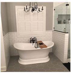 Small Master Bath, Master Bath Shower, Master Bathroom Layout, Small Tub, Shiplap Master Bathroom, Small Freestanding Tub, Master Bathroom Plans, Small Bathroom With Tub, Small Bathroom Floor Plans