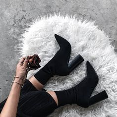 Shoes: tumblr sock boots high heels high heels boots black boots bracelets cuff bracelet