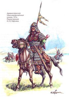 Kök Turk (Tujue) Warriors - Gökturks, Old Turkic people - century Warrior Costume, Classical Antiquity, Medieval Life, Turkish Soldiers, Historical Pictures, Military Art, Fantasy Characters, Illustration, Dark Ages