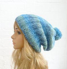 Hand Knit Hat Blue Green Pom Pom Slouch Beanie by Clickclackknits, £22.00