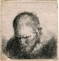 Rembrandt (1606–1669), Bearded Man Looking Down | The Morgan Library & Museum