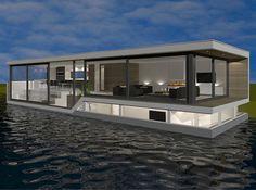 Nieuwbouw woonboot Utrecht door architect amsterdam   moderne woonark   houseboat