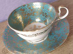 Antique Aynsley turquoise tea cup set English tea by ShoponSherman,