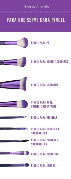 What is each makeup brush for- Para que serve cada pincel de maquiagem Makeup brush. Make-up brush for face contour. Make a perfect makeup using the right brush in your makeup. Makeup Spray, Glam Makeup, Skin Makeup, Makeup Brushes, Makeup Tips, Beauty Makeup, Basic Makeup, Make Tutorial, Face Contouring