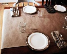 brown paper tablecloth...