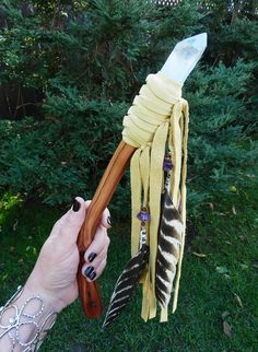 ✯ Talking Stick.. Manzanita Wood, Crystal Quartz, Bells, Amethyst Crystals, Natural Buck Skin. The Talking Stick has been used in Native American cultures as tool used to call counsel within sacred circles.  Talking Sticks can also be used for blessings, a prayer stick, healing staff, or for calling spirits. :: Shop White Magick Alchemy ✯
