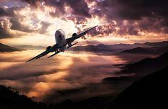 Landschap, Vliegtuigen, Wolken, Storm, Zonsondergang