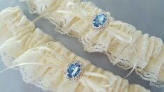 Ivory Lace Bridal Garter Set Something Blue Elegant Rhinestone Accent Wedding Garter Set by Allofyou on Etsy