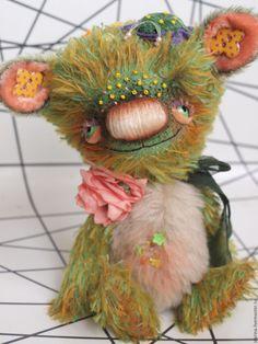 Купить Полянка (цветочная) - зеленый, авторский мишка, мишка тедди, креативный мишка, немецкий мохер