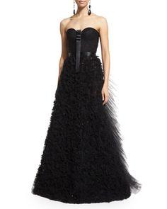 Strapless Embellished-Skirt Gown, Black by Oscar de la Renta at Neiman Marcus.