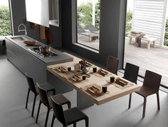 From Elegant to Extreme: 10 Kitchen Islands To Inspire – Wills Company Open Plan Kitchen Living Room, Kitchen Room Design, Modern Kitchen Design, Home Decor Kitchen, Interior Design Kitchen, Home Kitchens, Design Kitchen Island, Kitchen Ideas, Kitchen Island Dining Table