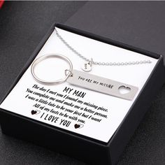 - My man - I want all of my lasts to be with you - Heart Necklace & Keychain Gift Set