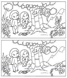 Encontrar las 5 diferencias Adán y Eva