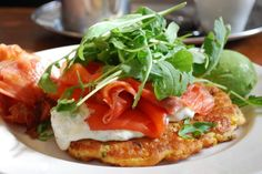Corn Fritters with Dill Cream, Smoked Salmon, Bacon and Arugula