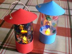 Make and decorate your own little lanterns with plastic tea lights, clear plastic, and card paper ^_^