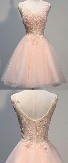 Short Prom Dresses,Brand New Elegant Applique Tulle Knee Length Short Party Dresses Homecoming Dresses #homecomingdresses