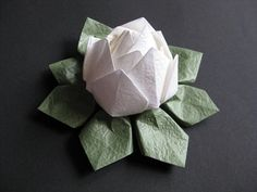 Origami Lotus Flower White by makikomo on Etsy