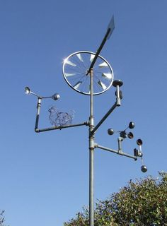 The bicycle wheel wind vane mounted on a pole