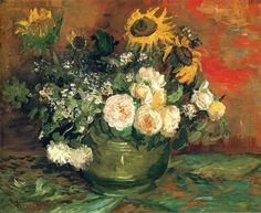 Vincent van Gogh  |  Still-life with Roses and Sunflowers,1886