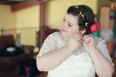 flower crown on wedding day