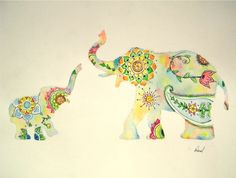 """Elephant Watercolor Painting, Colorful Design Print, Indian Style Mother Baby, 11 x 14"""". $15.00, via Etsy."""