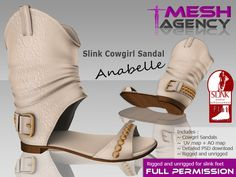 "Second Life Marketplace - Slink Flat Studded Cowgirl Sandals ""Anabelle"" - FULL PERM"