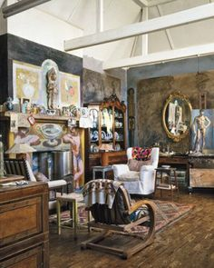 The studio at Charleston, country retreat of the Bloomsbury Group Attic Office, Attic Playroom, Attic Rooms, Attic Spaces, Attic Library, Attic Organization, Attic Storage, Attic Renovation, Attic Remodel