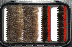 Frede's and Red tags - And plenty of them. The first four rows of flies are done.