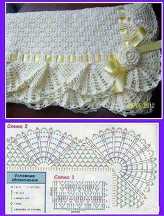 Trendy ideas for crochet blanket edging posts Afghan Patterns, Crochet Stitches Patterns, Crochet Chart, Filet Crochet, Baby Knitting Patterns, Crochet Designs, Crochet Blanket Edging, Baby Afghan Crochet, Crochet Borders