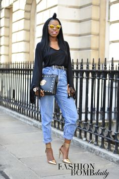 Real Street Style: London Spring 2015 Fashion Week Day 1 - super styling with high waisted denim