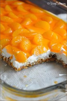 This classic dessert features a crunchy pretzel crust, a creamy center, and silky top with mandarin oranges and orange flavored gelatin. Perfect for a summer luncheon!