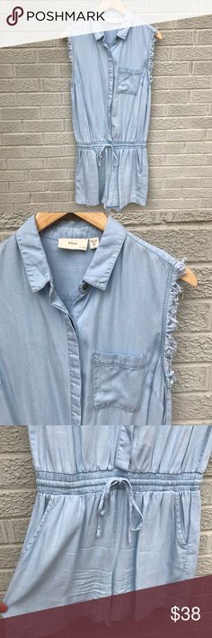 "blue by rd Chambray Denim Button Tie Waist Romper blue by rd Chambray Denim Button Tie Waist Romper with raw sleeves & back yoke! Love the pockets & Drawstring Waist which is super flattering! So soft too! Size Small. 35.5"" long, 3.5"" inseam, 14"" across waist & 17.5"" across the waist. Like new! Button still attached on the inside tag! BO752071917 blue by rd Pants Jumpsuits & Rompers"