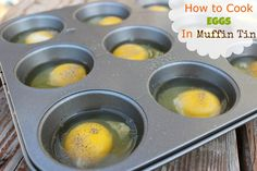How to Cook Eggs In the Oven in a muffin tin! These are great to make ahead and have on hand for a quick breakfast option through the week! Top with cheese to add a bit more flavor!