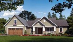 House Plan - This classic Craftsman Cottage Plan features in excess of square feet of living space with three bedrooms and two plus baths. The exterior is highlighted with tapered beams, stone pillars and an inviting front covered porch. Craftsman Ranch, Craftsman Cottage, Craftsman Style House Plans, Ranch House Plans, Cottage House Plans, Cottage Homes, Craftsman Exterior, Craftsman Houses, Cottage Style