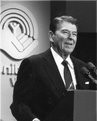 The Old Gipper speaking at a United Way event in the 1970s.