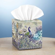 Peacock Paisley Tissue Box Cover - Stylish Home Accents and Décor - Graceful Clothing, Accessories & Jewelry
