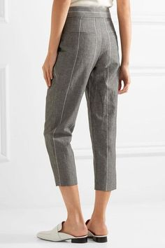 Brunello Cucinelli - Cropped Striped Linen And Wool-blend Straight-leg Pants - Gray - IT40