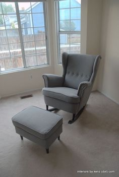 IKEA Hack: Strandmon Rocker {DIY Wingback Rocking Chair} your own nursery rocker for the price! Chaise Diy, Chaise Ikea, Ikea Chair, Diy Chair, Recliner Chairs, Chair Cushions, Ikea Strandmon, Diy Furniture, Couches