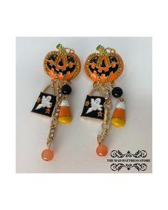 Halloween Earrings Diy, Halloween Jewelry, Fall Accessories, Halloween Accessories, Red Earrings, Etsy Earrings, Cute Hats, Candy Corn, Hostess Gifts