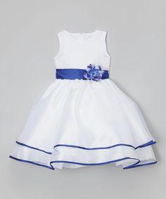 This White & Blue Sash Flower Dress - Infant, Toddler & Girls is perfect! #zulilyfinds