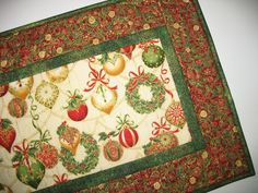 Christmas Table Runner, Ornaments, quilted, fabric  from Holiday Flourish by PicketFenceFabric on Etsy